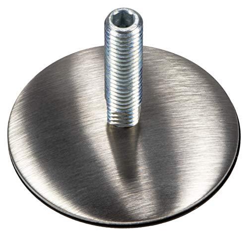 Gedotec Regulierschraube Edelstahl Verstellschraube mit Fußteller Ø 50 mm | Gewinde M10 | Stellfüße drehbar | Stellschraube Länge 37 mm | 1 Stück - Sockel-Höhen-Verstellfüße für Schränke & Möbel-Füße