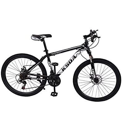 Nihewoo 26 inch 21-Speed ??Mountain Bicycle Dual Disc Brakes Mountain Bicycle City?Bicycle/CTB Outroad Mountain Bike (Black)