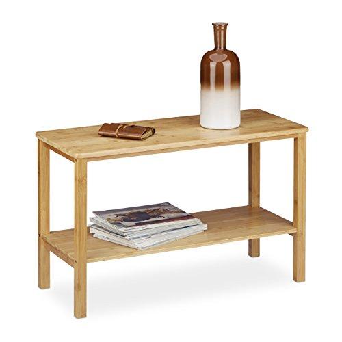 Relaxdays – Mesa para el sofá Rustico, Hecho de bambú, 50 x 80 x 34 cm, Rectangular, Plano, 2 Niveles, Espacio de Almacenamiento, Color Natural