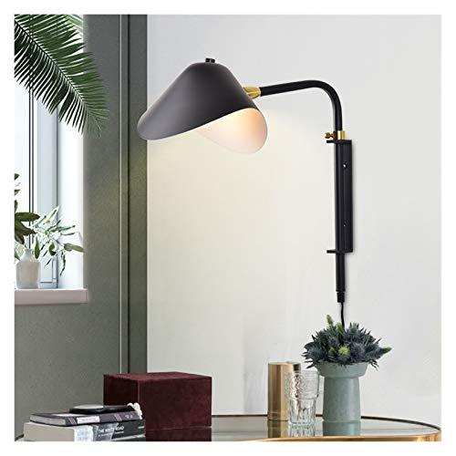 yywl Lámpara de Pared Lámpara de Pared Moderna E27 Luz de Pared Ajustable Negra para Loft Dormitorio en la Cama de la cabecera Luz de Pared nórdica