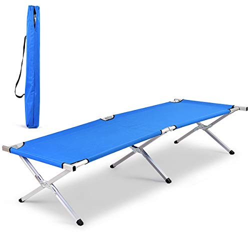 Goplus Foldable Camping Bed Outdoor Portable Military Cot for Travel, Base Camp, Hiking, Mountaineering (Navy 83'')