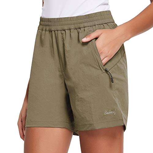 """BALEAF Women's 5"""" Athletic Shorts Quick Dry Lightweight for Hiking, Workout, Running with Zipper Pocket UPF 50+ Sandy Beige Size M"""