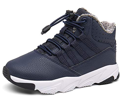 Kinderstiefel Jungen Mädchen Winterschuhe Warm Gefüttert Sneaker rutschfeste Stiefel Leichte Wanderstiefel Blau EU34=CN35