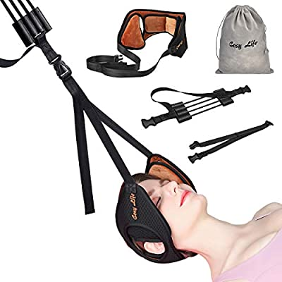 Neck Head Hammock,Cosy Life Breathable Velvet Cervical Traction Device,Neck Stretcher with Durable Reinforced Elastic Cords & Adjustable Straps for Helping Neck Pain Relief (Brown)