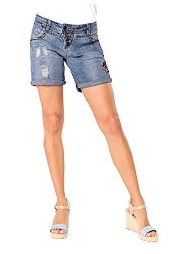 Rock Angel Damen Denim Bermuda mit Stickereien | Jeans-Shorts | Kurze Hose Middle-Blue S