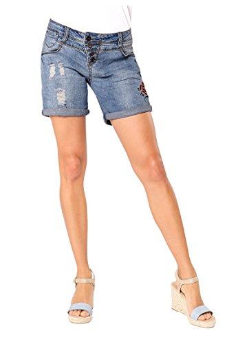 Rock Angel Damen Denim Bermuda mit Stickereien | Jeans-Shorts | Kurze Hose Middle-Blue L