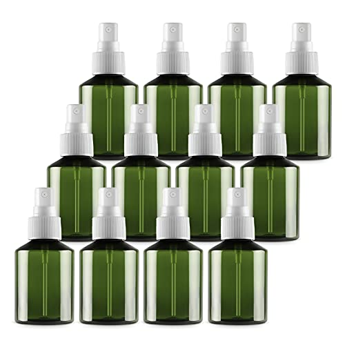 TIANZD 12 Piezas50 ml Botella de Spray Plástico Vacías Verdecon Bomba en Spray Blanco de Niebla Fina Atomizador Pequeño para Perfume Viaje Artículos de Agua Cosmético Alcohol