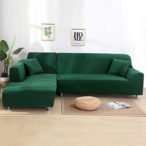 SearchI Fundas Sofa Elasticas Chaise Longue,Cubre Sofás Modernas Protector para Sofás Acolchado Brazo Izquierdo Fundas de Sofa Ajustables en Forma de L 2 Piezas(Verde Oscuro,1 Plazas+2 Plazas)