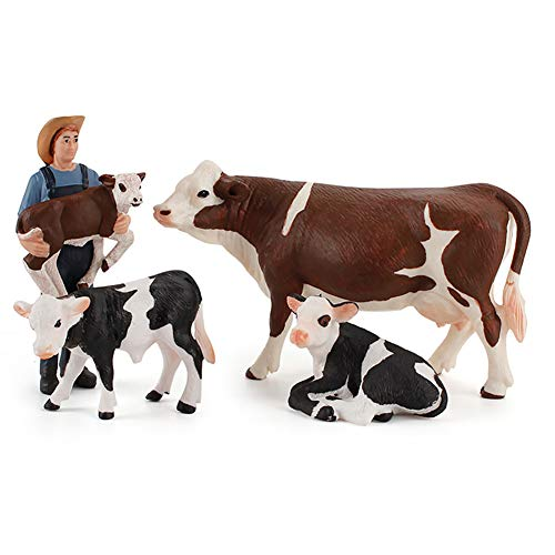 DOYIFun Set of 4 Realistic Farm Cow Model Figures Toy Set, Farm Cow Figurines Collection Playset with Farm Keepers, Farm Meadows Pasture Cow Statues Preschool Educational Learn Cognitive Toys
