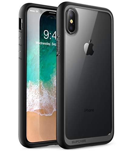 Supcase iPhone X / iPhone XS Hülle Unicorn Beetle Style Handyhülle Transparent Backcover, Schwarz - 5.85 Zoll