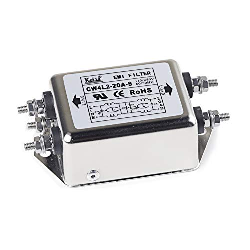 Noise Suppressor Power EMI Filter Termianl Single-Phase Line-Conditioner JREle AC 115/250V 20A CW4L2-20A-S