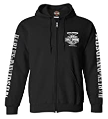 Harley-Davidson Men's Lightning Crest Full-Zip Hoodie Soft and comfortable, made from 50% cotton and 50% polyester Front features our Wisconsin Harley-Davidson dealer screen printed graphic Back is decked out with a very large Harley-Davidson skull g...