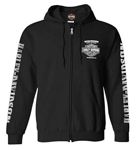 Harley-Davidson Lightning Crest - Sudadera con capucha para hombre, con cierre completo, color negro - Negro - Large