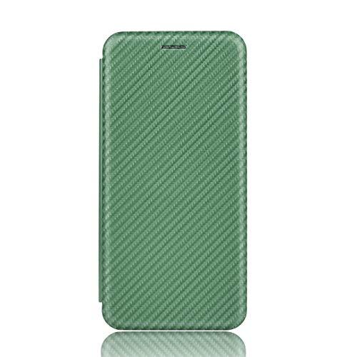 NEINEI Hülle für Asus Zenfone 8 Flip Handyhülle,Premium Kohlefaser LederHülle Wallet mit Kartenfach und Magnetisch und Standfunktion,PC/TPU Flip Stoßfest Schutzhülle Cover Hülle,Grün