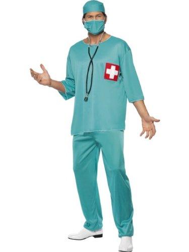 """Smiffys-21781L Disfraz de Cirujano, con túnica, Pantalones, Gorro y mascarilla, Color Verde, L-Tamaño 42\""""-44\"""" (Smiffy\'S 21781L)"""