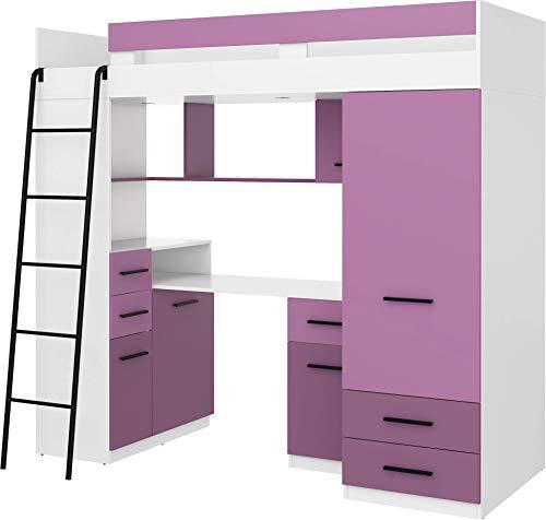Lit Mezzanine avec Bureau, Tiroirs, Armoire et Bibliothèque – SMYK Gauche – (Blanc/Lavande)