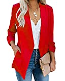 Ofenbuy Womens Casual Blazer Ruched 3/4 Sleeve Open Front Relax Fit Office Lightweight Cardigan Jacket Blazers Red