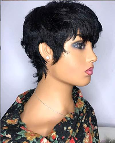 Vancehair full machine made Human Hair Short Wavy Wigs Short Human Hair Pixie Cut Layered Bob Wigs for women (Mix Length, Natural black)