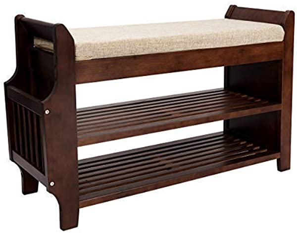 Shoe Rack Bench Bamboo Removable Cushion Storage Shelf 2 Tier Entryway Shoe Storage Organizer With Drawer And Umbrella Stand