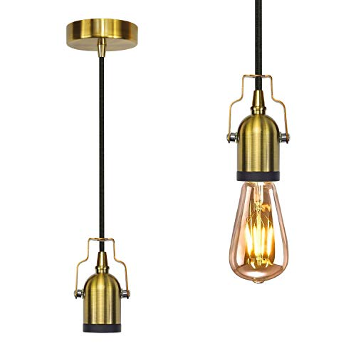 Pendelleuchte Vintage 1 Flammig, Deckenlampe E27 Fassung, Retro Edison HäNgelampe Esszimmer Mit Lampenfassung Und 1,5m Stoffkabel - Vintage Gold-PEBA - Ohne Glühbirne