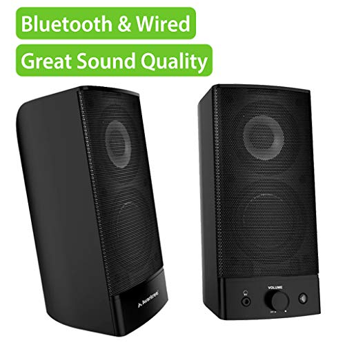 Avantree HIGH Clarity 10W Bluetooth Computer Speakers, Wireless & Wired Stereo, AC Powered, Volume Adjustment, 3.5mm / RCA Multimedia Speakers for PC, Desktop, Laptop, Mac, TV - SP750