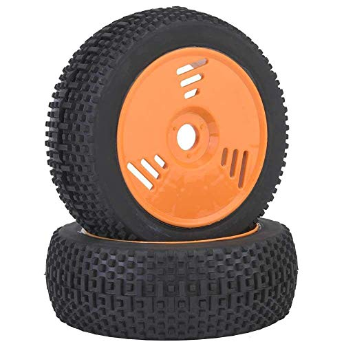 J-Clock Neumático para Scooter, 1 Rueda RC, Neumático concéntrico Goma Suave Mejorado, Neumático para Llantas Cubo para camión Recorrido Corto 1: 8 Off Road Buggy RC Car (Naranja)