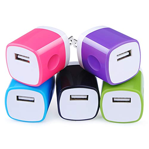 5Pack Single USB Plug Phone Charger Android 1A Home USB Wall Charger Cube Charger Block Power Base Box Head Brick Adapter One Port Compatible iPhone 11 Pro 8 7 6S 4S Plus, Samsung LG Moto HTC