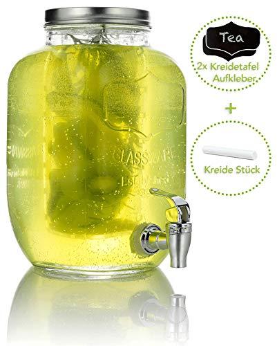 Mary's KITCHEN TOOLS Getränkespender 4 Liter aus Glas mit Fruchteinsatz | mit Zapfhahn | Wasserspender | Limonadenspender | Saftspender | Bowle | Dispenser | Einmachglas-Design (4 Liter)