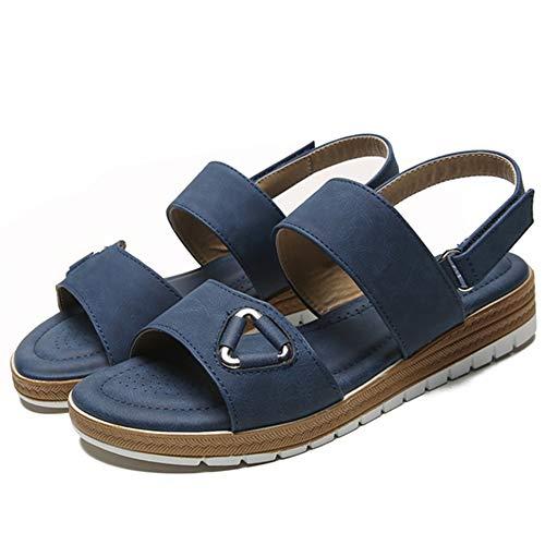 Drxiu Sandalias De Verano De Tacón Bajo para Mujer,Zapatos Informales con Punta Abierta, Chanclas Zapatillas De Playa,Blue-41