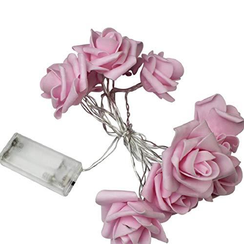 Mageelian 20 LEDs String Lampada a Pile 2m Indoor Fairy Lights per Interni e Esterni Bedroom Decor Natale Xmas Wedding Rose Flower Fairy String Lights (Colore : Blu)