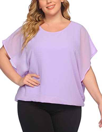 IN'VOLAND Plus Size Women Chiffon Blouse Batwing Sleeve Tops Scoop Neck Tunic Shirts 5X Lavender
