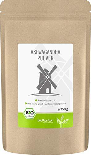 Ashwagandha Pulver Bio 250g | 100% echte Ashwagandha Wurzel aus Indien | bioKontor | indischer Ginseng