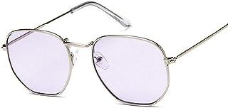 EFXGYHSAQ - Gafas De Sol Hombre Mujeres Ciclismo Gafas De Sol Poligonales De Metal Cuadradas Retro para Mujer, Gafas De Sol Transparentes Coloridas A La Moda, Gafas De Sol para Hombre, Goggle-Silver_Purple