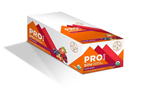 PROBAR - bite Organic Energy Bar, Mixed Berry, Non-GMO, Gluten-Free, USDA Certified Organic, Healthy, Plant-Based Whole Food Ingredients, Natural Energy, 1.3 Ounce (Pack of 12)
