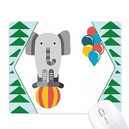 Geweldige grappige ballon olifant Illustratie muismat groene dennenboom rubberen mat