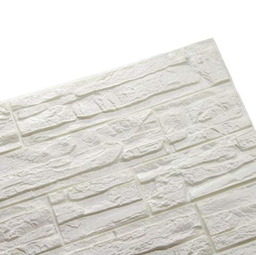 3D Carta da Parati Autoadesiva, Sticker Decorativi Mattoni Bianco, Rilievo del Modello di Struttura 3d, Carta da Parati Impermeabile di Alta Qualità 60 * 60 cm (12, Pietra)