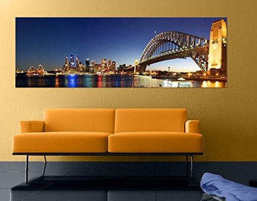 Cuadro de lienzo no.561 Sydney At Night 120x40 cm, Größe:40cm x 120cm x 4cm