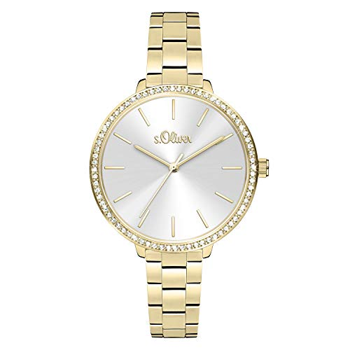 s.Oliver Damen Analog quarz Armbanduhr mit Edelstahl SO-4095-MQ