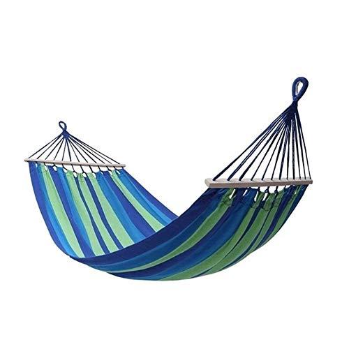 Columpio Viaje de algodón Tela de Lona Ultraligero hamacas Camping Hamaca Beach portátil con el oscilación de Madera Dura Cubierta Exterior del esparcidor (Color : Blue)