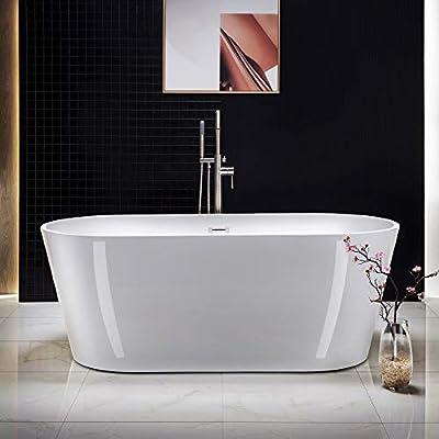 "WOODBRIDGE 67"" Acrylic Freestanding Bathtub Contemporary Soaking Tub with Brushed Nickel Overflow and Drain BTA1513-B,White"