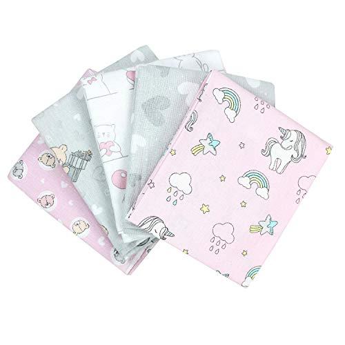 TupTam Baby Moltontücher Flanellwindeln Spucktücher Stoffwindeln Mädchen Jungen 70x80 5er Pack, Farbe: Mädchen 2, Anzahl der Teile:: 5er Pack