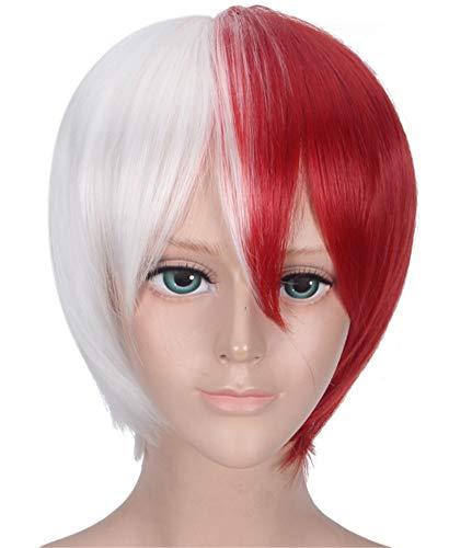 Half Silver White Half Red Cosplay Todoroki Shouto Wig for My Hero Academia 4 / Boku no Hero Academia 4th Season, Cool Summer Halloween Costume Play Wig with Free Hair Cap- wig026
