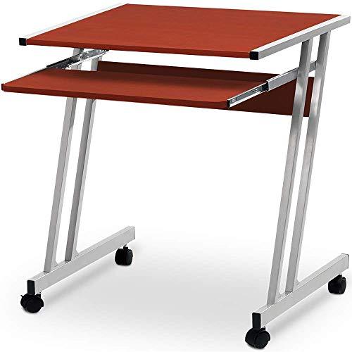 Deuba Schreibtisch Computertisch mit Rollen, 2 Bremsen Tastaturauszug platzsparend PC Laptop Tisch Computerwagen 62x48x73cm Braun