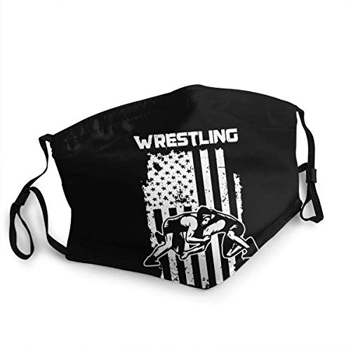 Mouth Scarf Usa Wrestling Face Protection Cycling Soft With 2 Filters Anime Unisex Face Scarf Washable Cozy Mouth Shield Adjustable Personalized Travel Sunscreen Mouth Scarf Reusab