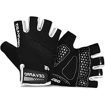Cevapro Cycle Gloves Mountain Road Bike Gloves Half Finger Bicycle Gloves with Anti Slip Shock-Absorbing Gel Pad Cycling Riding Biking Gloves MTB DH Road Bicycling Gloves for Men Women (1Black, M)