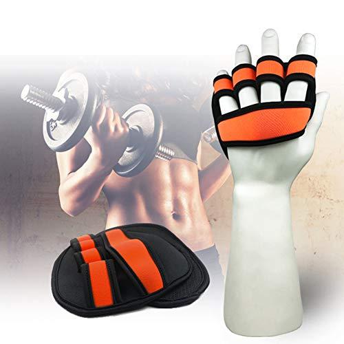 ENticerowts - 1 par de guantes de protección para la palma de la mano, mancuernas deportivas, gimnasio multifunción equipo de fitness, naranja