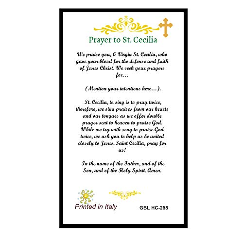 St Saint Cecilia Patron of Musicians Prayer Card Blessed By His Holiness