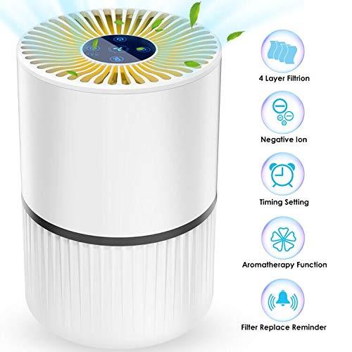 Luftreiniger Air Purifier Ionisator mit HEPA-Kombifilter 5-Stufen-Filterung mit 99,97{7d7afc8664336c3cf22fafa779d9ec302412699e8715343bdda9c891307c1a06} Filtrationsleistung mit LED, Perfekt gegen Staub und Haustier-Allergene, für Allergiker, Raucher, Asthma