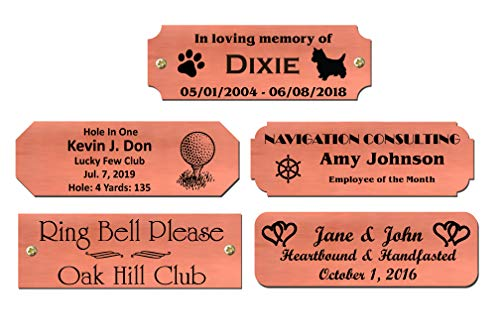 """1"""" H x 3"""" W, Copper Nameplates, Custom Engraved, Trophy Base Sign Memorial Tag Personalized Custom Logo Satin Finish Black Text, Made in USA"""