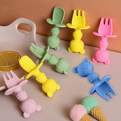 Silicone Feeder Cutlery Set Kids Cutlery Set Fork and Spoon Set Baby First Lead Training Weaning Cutlery Set